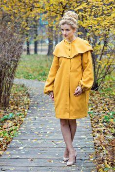 """Wool coat / Верхняя одежда ручной работы. Ярмарка Мастеров - ручная работа. Купить Пальто """"Горчица"""". Handmade. Оранжевый, пальто из шерсти"""