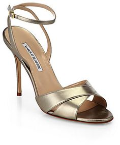 b445857058d8 Manolo Blahnik Orlana Crisscross Metallic Leather Sandals Tacos Altos