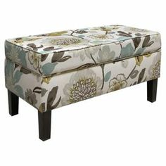 """Floral-print storage bench with a pine wood frame and foam cushioning. Handmade in the USA.    Product: Storage benchConstruction Material: Pine, foam and fabricColor: Multi Features: Handmade in the USADimensions: 19.5"""" H x 38.5"""" W x 18.5"""" D"""