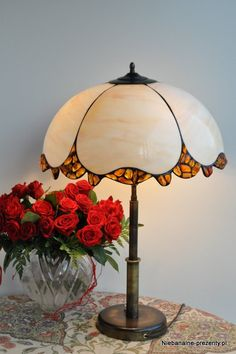 Stained glass Tiffany style lampshade - Amber grace. A lamp shade for table or desk lamps. Unique lamp and only one item is available on Etsy, $463.00