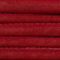 Stitched Suede Round Leather Cord, 5.0mm, Color - 804 Red.