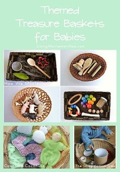 "Baby and Infant Treasure Baskets / sensory baskets, Montessori inspired. List and links to various treasure basket ideas from ""Chalkboards To Strollers"" Montessori Baby, Montessori Education, Montessori Materials, Montessori Activities, Infant Activities, Activities For Kids, Baby Education, Toddler Play, Baby Play"