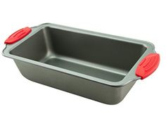 Loaf Pan  Premium NonStick Steel 85Inch Loaf Pan by Boxiki Kitchen  Professional NoStick Bakeware for Baking Banana Bread Meatloaf Pound Cake  85 x 45 x 275 with Red Silicone Handles * Click affiliate link Amazon.com on image to review more details.