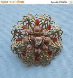 Summer Reductions Vintage 1980s Fabulous Coral Style Flowers set in Gold Fretwork Brooch by vintageretrojewels on Etsy