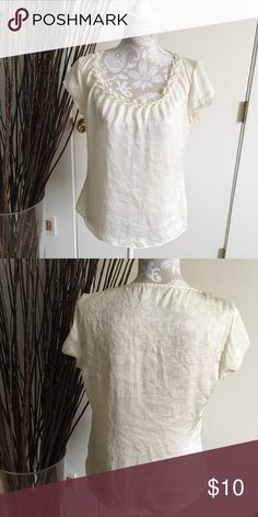 "Soft and Silky Cream Shell Top Soft silk, cream, dressy, pretty neckline, bit sheer. Used,good condition, no stains or holes.  Chest:20"" Length:23"" Sleeves:4""    Material:Unknown Bundle discount 20% off Tops Blouses"