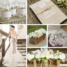 burlap and lace wedding ideas | Rustic Lace Wedding Inspiration | The Elli Blog... I LOVE all of these ideas, even the little one on the right side that I don't even know what it is!