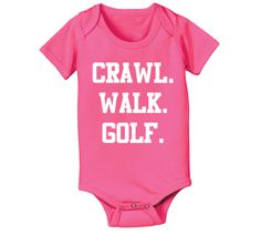 CRAWL WALK GOLF - funny golfing balls clubs kids pool maternity newborn baby girl boy gift outfit clothes - Baby Snap One Piece e1621