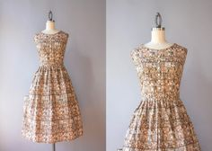 Vintage 50s Dress / 1950s Egyptian Novelty Print by HolliePoint
