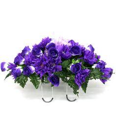 "20"" PURPLE Floral Memorial Flower Saddle Headstone Grave Side"