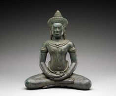 Buddha of Healing (Bhaisajyaguru)   Origin: Cambodia  Date: 12th Century CE (Angkor Wat style)  Measurements: 9 3/4 x 7 3/8 x 3 3/4 inches  Medium: Bronze  Source: Museum of Fine Arts, Houston