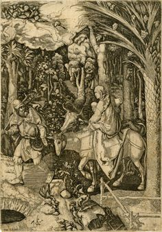 Reversed copy of the woodcut of the Flight into Egypt of c.1504, showing a dense wood with the Virgin and Child on a donkey, St Joseph on foot; on the right a date palm tree and a stag, on the top left a cloud with angels.  c.1525-50  Etching