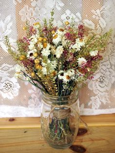 SHABBY CHIC Bridesmaid Dried Flower Bouquet - For a Rustic Country ...