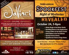 Union Station has a Davinci exhibit and Spookfest this month!!  // For more family resources visit www.ifamilykc.com! :)