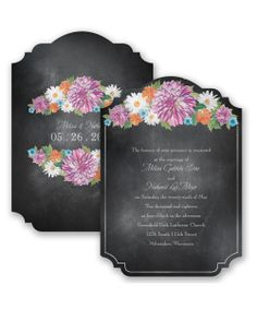 Chalkboard Garden Romance Wedding Invitation by David's Bridal: Dahlias, daisies and more! A striking garden bouquet of blooms decorates this stylish chalkboard wedding invitation.