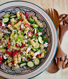 Greek Pasta Salad with Crab and Feta | Neighborfoodblog.com #recipes #cookout #sidedish