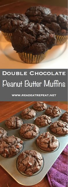Double Chocolate Peanut Butter Muffins will make you want to get up in the morning! Muffins Blueberry, Zucchini Muffins, Mini Muffins, Breakfast Muffins, Breakfast Potatoes, Carrot Muffins, Cranberry Muffins, Bran Muffins, Lemon Muffins