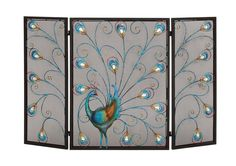 The colorful metal fireplace screen