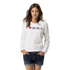 Tommy Hilfiger I Heart Tommy Sweatshirt ($90) ❤ liked on Polyvore featuring tops, hoodies, sweatshirts, cotton sweatshirts, white cotton tops, graphic print sweatshirts, graphic print top and white cotton sweatshirt