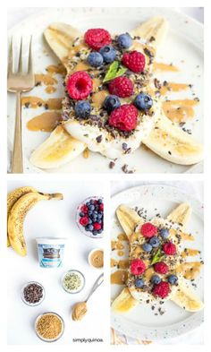 FOOD - Breakfast Banana Split Recipe - Indulge your kids with the ultimate healthy breakfast: Banana Splits! Made with greek yogurt and your choice of toppings! http://www.superhealthykids.com/breakfast-banana-splits/