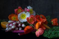 Buy Poppies with Radishes on photograph by Lynn Karlin. Lynn Karlin is from Belfast, ME and is represented by Maine Farmland Trust Gallery Still Life Photography, Fine Art Photography, Amazing Photography, Contemporary Photographers, Contemporary Artists, Julia Margaret Cameron, Bronze Award, Photography Exhibition, Poppies