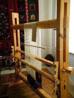 vertical loom set up.