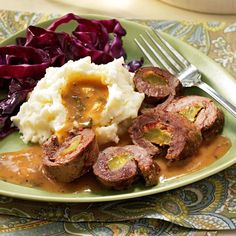 German Beef Rouladen Recipe -Until I entered kindergarten, we spoke German in our home and kept many old-world customs. We always enjoyed the food of our family's homeland. Mom usually prepared this for my birthday dinner.—Helga Schlape, Florham Park, New Jersey