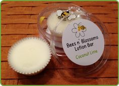 Coconut Lime Lotion Bar.  A top seller! Coconut Lime is the ultimate summer scent! It's a beach party in a bottle! A lotion bar is a solid moisturizer. They are great for your hands, feet, knees, elbows or your entire body! If you want to prevent your skin from becoming dry or relieve dry, flaky, cracked or chapped skin, Bees n' Blossoms Lotion Bars are for you!  All Bees n' Blossoms Lotion Bars are handcrafted with natural ingredients that are good for your skin!