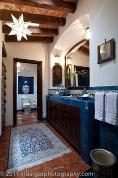 Charming style bathroom with beautiful tiles for the floor, backsplash . - Charming style bathroom with beautiful tiles for the floor, backsplash and counter top! Spanish Style Decor, Spanish Style Homes, Spanish House, Spanish Revival, Spanish Colonial, Spanish Bathroom, Spanish Style Bathrooms, Estilo Colonial, Bad Styling
