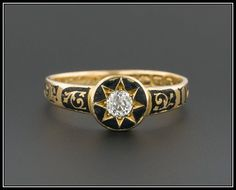 Victorian diamond and black enamel mourning ring