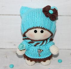 Muñecas hechas a mano turquesa crochet juguetes por PrettyBalls