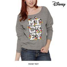 Juniors' Disney Mickey or Minnie Boatneck Sweatshirt - Assorted Styles at 57% Savings off Retail!