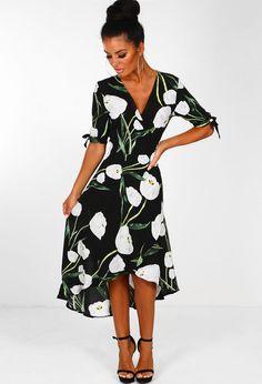 Innocent Eyes Black Multi Floral Print Wrap Dress  b133573f9