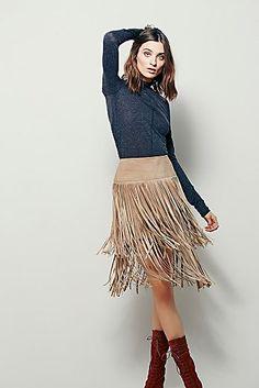 La Vie Boheme Leather Skirt