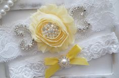Yellow Lace Wedding Garter Set / http://www.deerpearlflowers.com/wedding-garters-sets-from-etsy/2/