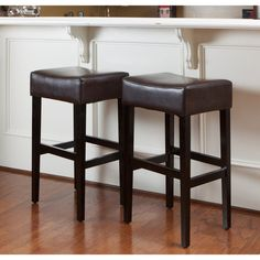 Best Selling Classic Brown Leather Backless Barstool 2 Pack