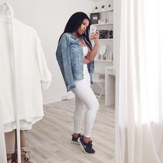 In all white, again! This time with a denim jacket thrown over. I'm about to edit my haul going up this evening (don't worry, some colour and pattern for those who would like to see something different! Lol). Shop the look @liketoknow.it www.liketk.it/1AMY4 #liketkit