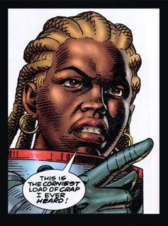 Martha Washington (codename: N/A) is the creation of Frank Miller. Grew up in Caprini-Green though in the future and escapes it by joining the military.  Martha Washington is not really a superhero comic as much as a military-science fiction hero comic.