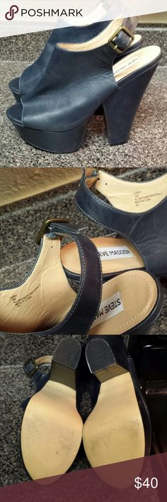 """Steve Madden """"Gabby"""" shoes SM GABBY platform wedges. Navy . Worn maybe 2x. Small general wear & scuffs visable on shoes and heals. VERY comfortable FOR HEELS. Steve Madden Shoes Platforms"""