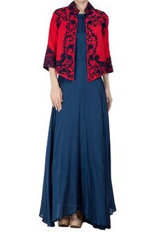 Rose Red Embroidered Jacket With Blue Dress by The House of Gyans, Womens Suits #Ethnic #Diwali #Festive #indian #embroidered #kurta #dress #indowestern #modern #trendy