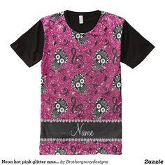 Neon hot pink glitter music notes sugar skulls