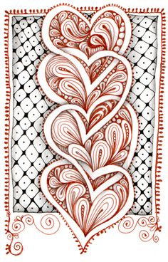 """Zentangle® hearts, by Carole Ohl.  (Yeah, """"Zentangle®"""" is a legally registered trademark of Zentangle, Inc.  It's all about the money.  I think that's too bad.)"""