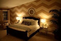 chevron wall - in the bedroom ... so hot