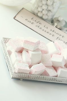 Life is short – eat dessert first!  Lovely Pink & White Marshmallows with pink M&M's