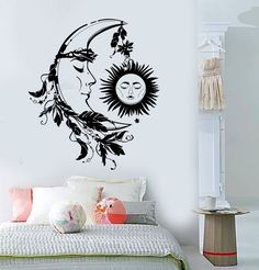 Vinyl Wall Decal Sun Moon Night Dream Bedroom Design Feather Stickers (807ig)