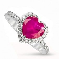 Inel argint 925 piatra semipretioasa Rubin placat cu Rodiu si cristale Heart Ring, Rings, Jewelry, Jewlery, Jewerly, Ring, Schmuck, Heart Rings, Jewelry Rings
