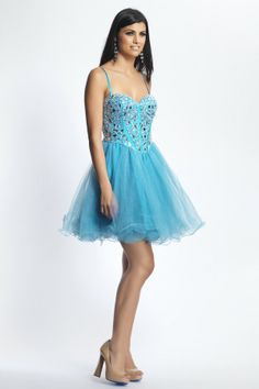 Short A-line Spaghetti Straps Blue Tulle Prom/Homecoming Dress JSSD0076