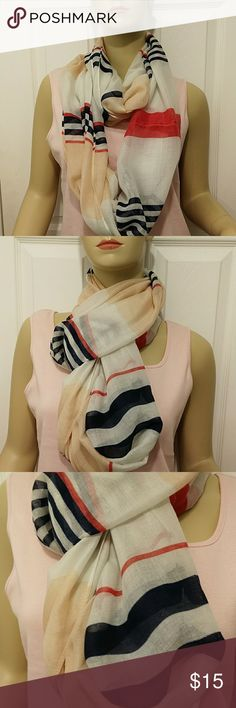 NWT West loop infinity scarf Beautiful , colors white,navy blue, light orange and red West loop Accessories Scarves & Wraps