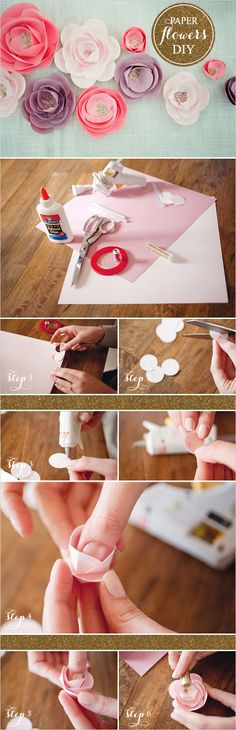 how to make paper flowers #diy #crafts www.BlueRainbowDesign.com