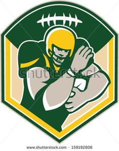 Illustration of an american football gridiron running back player running with ball facing front fending set inside shield crest with ball on top done in retro style. - stock vector #Americanfootball #retro #illustration