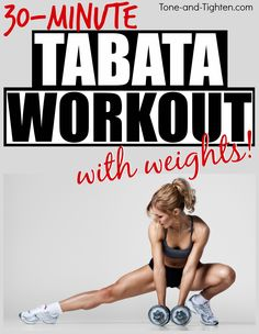 Love HIIT? Love dumbbells? Why not combine them with this 30-minute Tabata workout?! From Tone-and-Tighten.com